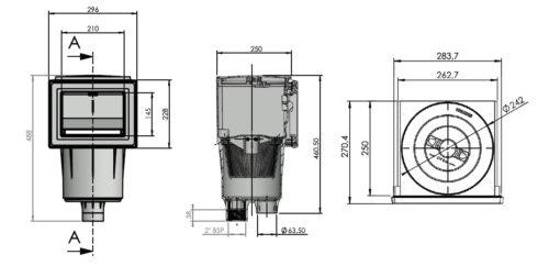 СкиммерAstral 17.5L, SPS 250, 210 х 145 мм, с латунными вставками, под пленку - изображение 2