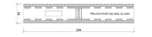 Решетка переливного лотка, VAGNER, Color GW 2035 | 2535,  высота 34 мм, ширина 194 / 244 мм - изображение 2
