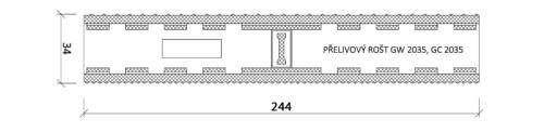Решетка переливного лотка, VAGNER, Color GW 2035 | 2535,  высота 34 мм, ширина 194 / 244 мм - изображение 3