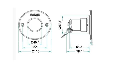 Подводный светодиодный прожектор, 4 цвета/4 диода, 24V/DC, RGB, 1220LM, 5м кабеля 2х1,5мм2. Ø-110мм. - изображение 2