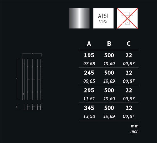 Решетка переливного лотка, AQA нерж.сталь, высота 22 мм, ширина 150 / 195 / 245 / 295 - изображение 2
