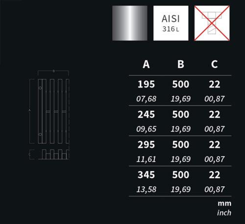 Переливная решетка AQA нерж.сталь, 500х250 мм, высота 22 мм - изображение 2