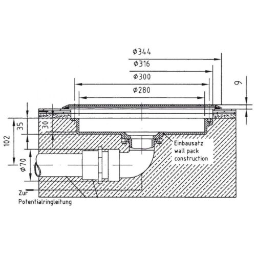 Комплект закладных донного гейзера Fitstar с боковым выходом ( закладной элемент гейзера, резьба 2″ + закладной элемент пневмокнопки со шлангом) - изображение 2