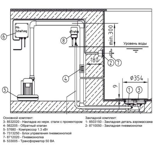 Окончательный комплект донного гейзера Fitstar ( лицевые панели плато и пневмокнопки исполнение нерж.сталь точечная подстветка (50Вт) + компрессор 1,1 кВт + обратный клапан + пускатель компрессора) - изображение 2