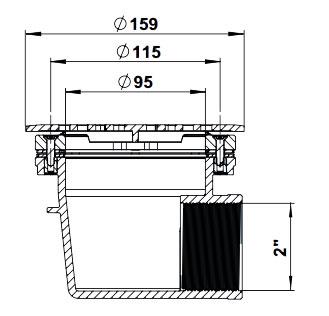 Донный слив Vagner VAMILLA под пленку, с латунными вставками, с решеткой из нерж.стали - изображение 2