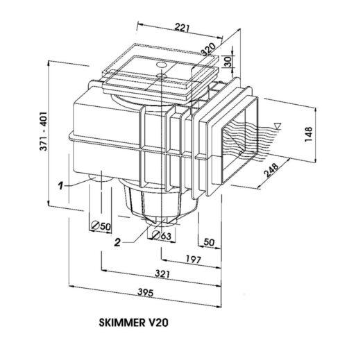 Горизонтальный удлинитель скиммера V20 - изображение 3